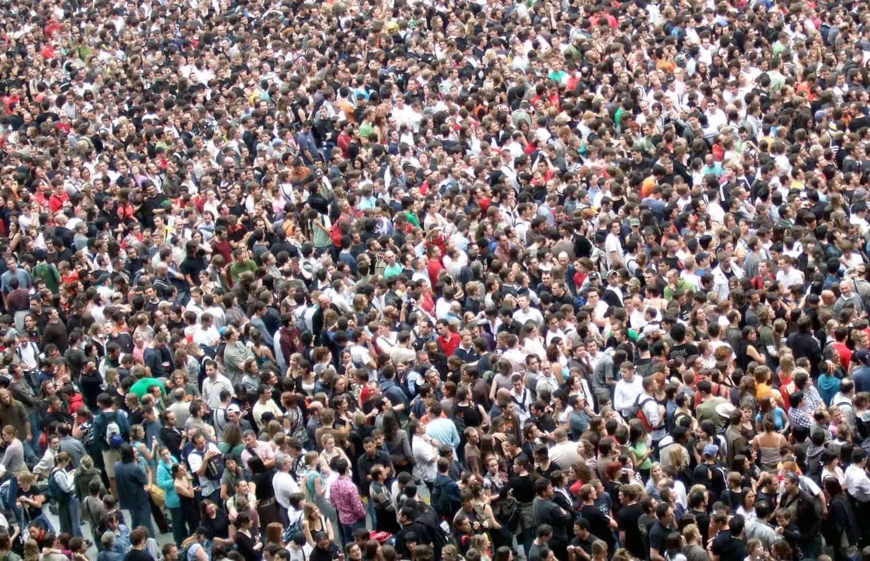bird-eye-view of a big crowd