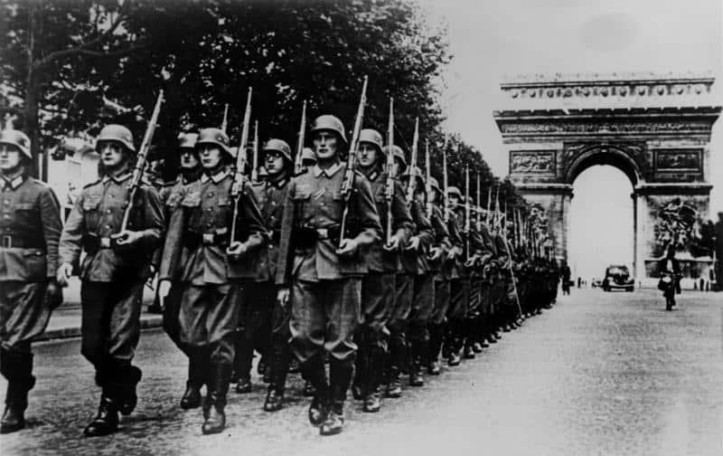 fascist troops marching