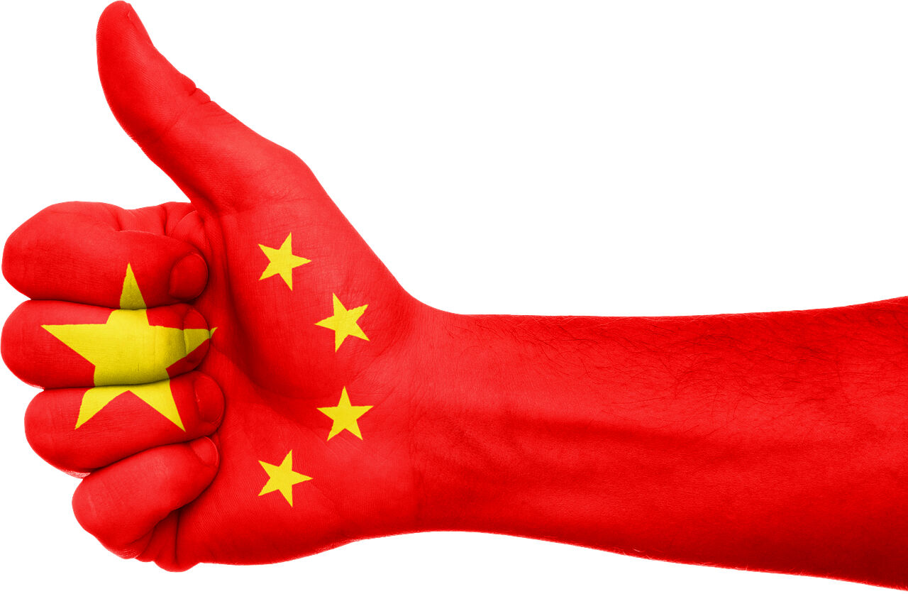 thumbs up Communist China flag