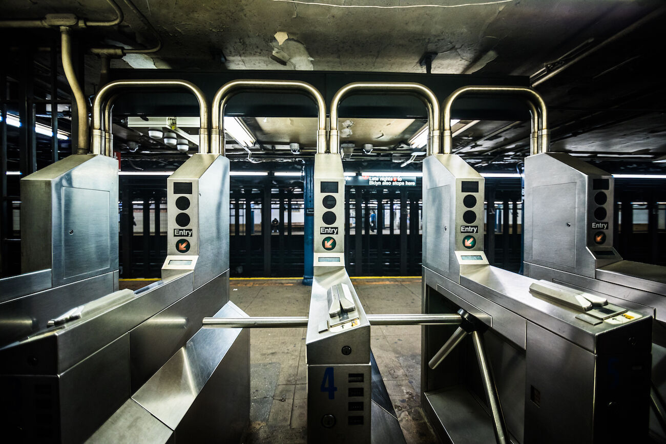 NYC MTA subway turnstile during coronavirus pandemic